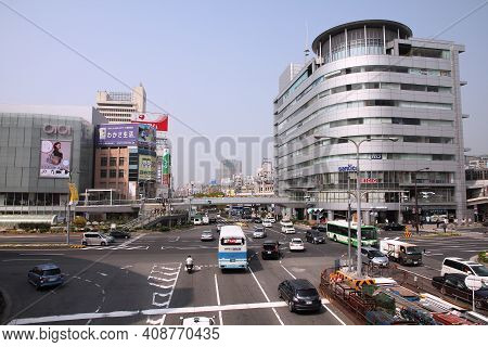 Kobe, Japan - April 24, 2012: Urban Street View Of Kobe, Japan. Kobe Is The 6th Largest City Of Japa