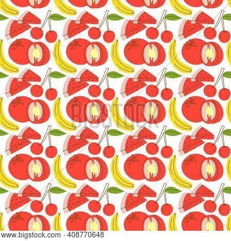 Pattern Seamless With Fruit Element Watermelon, Banana, Cherry. Fruits Seamless Pattern. Vector Flat