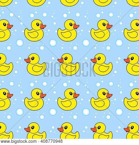 Seamless Pattern With Yellow Rubber Ducks And Soap Bubbles On Blue Background.