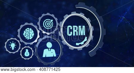 Internet, Business, Technology And Network Concept.crm Customer Relationship Management. 3d Illustra