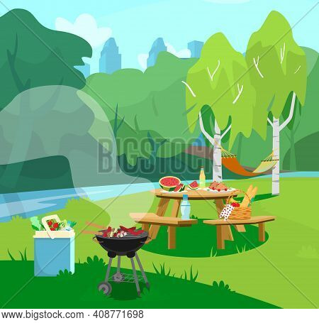 Vector Illustration Of Park Scene In City  With Table With Food And Barbeque. Cityscape At The Backg