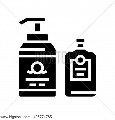 Soap And Lotion Containers Glyph Icon Vector. Soap And Lotion Containers Sign. Isolated Contour Symb
