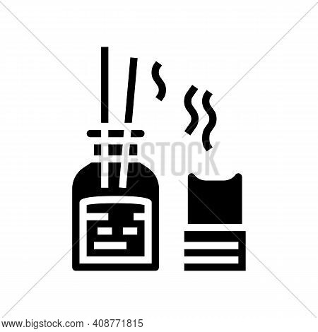 Aroma Therapy Accessories Glyph Icon Vector. Aroma Therapy Accessories Sign. Isolated Contour Symbol