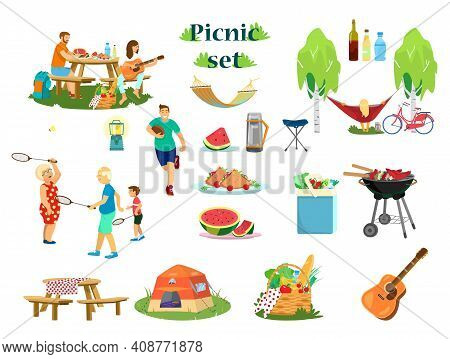 Big Vector Picnic Set. Couple Having Picnic, Boy Runs With Rugby Ball, Grandparents With Kid Playing