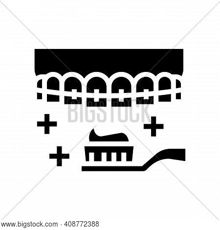 Care And Cleaning Tooth Braces Glyph Icon Vector. Care And Cleaning Tooth Braces Sign. Isolated Cont