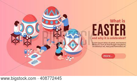 Easter Horizontal Banner With Information About History Origin Of This Religion Holiday Isometric Ve