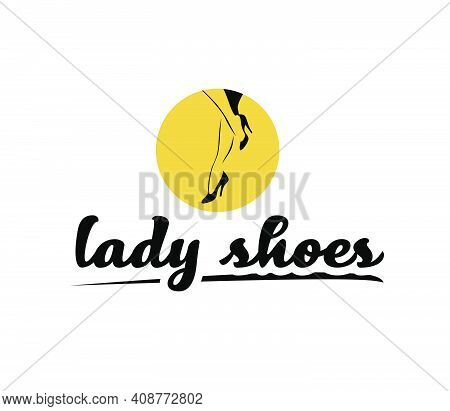 Lady Shoes Emblem Concept Isolated On White Background. Pair Of Elegant Woman Legs In Classic Shoes