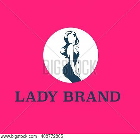 Lady Emblem Design Template Isolated On Red Background. Stylish Lady In Cocktail Dress And Long Hair