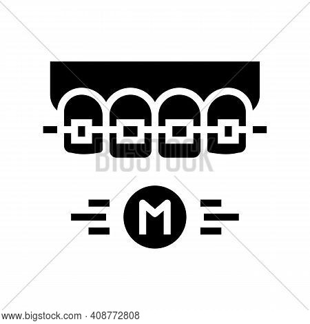 Metal Material Tooth Braces Glyph Icon Vector. Metal Material Tooth Braces Sign. Isolated Contour Sy