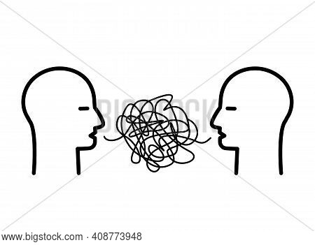 Two Heads Of People With Confused Thoughts In Their Heads Are Talking And Talking Nonsense. Misunder