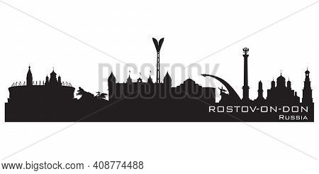 Rostov-on-don Russia City Skyline Detailed Vector Silhouette