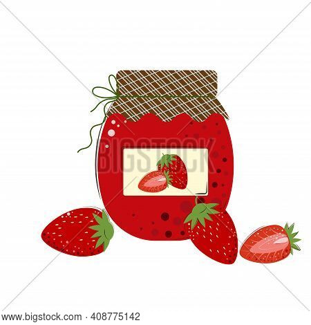 Jar Of Strawberry Jam. Homemade Jam From Fresh Berries.