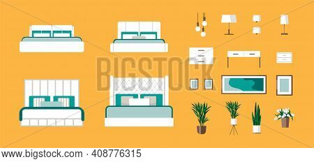 Bedroom Furniture Flat Icons Set With Bed, Lamp, Chandelier, Armchair, Mirror Isolated Vector Illust