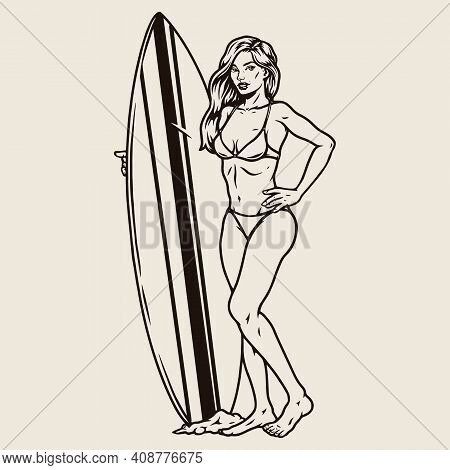 Attractive Female Surfer With Surfboard In Vintage Monochrome Style Isolated Vector Illustration