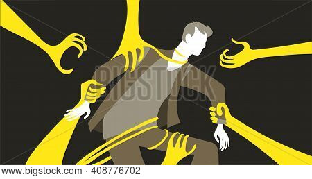Vector Illustration. Psychology Of Personality. The Man Is Captured By Giant Arms, Tentacles. The Co