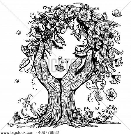 Vector Illustration Of Philosophy, Symbol Of Life, Female Psychology. A Woman's Face In The Form Of