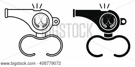 Sports Whistle Of Referee Of Ice Hockey Match. Icon. Minimalistic Vector