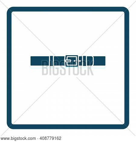 Trouser Belt Icon. Square Shadow Reflection Design. Vector Illustration.