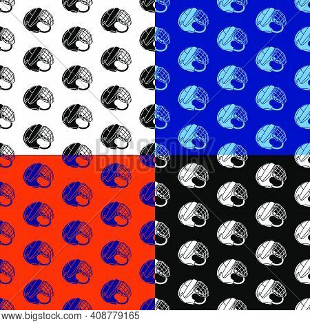 Set Of Seamless Patterns With Hockey Helmet With Protective Grill. Ice Hockey Field Player Protectiv