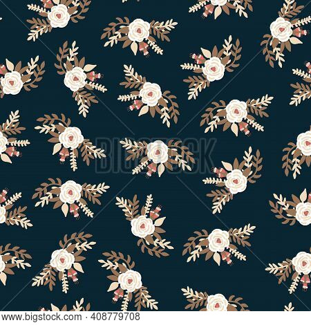 White Vintage Florals Bridal Roses On Black Seamless Vector Pattern. Repeating Romantic Retro Flower