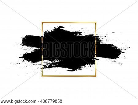 Cosmetic Mascara Stroke With A Gold Frame For Text. Realistic Mascara Smears. Black Paint Brush. Gru