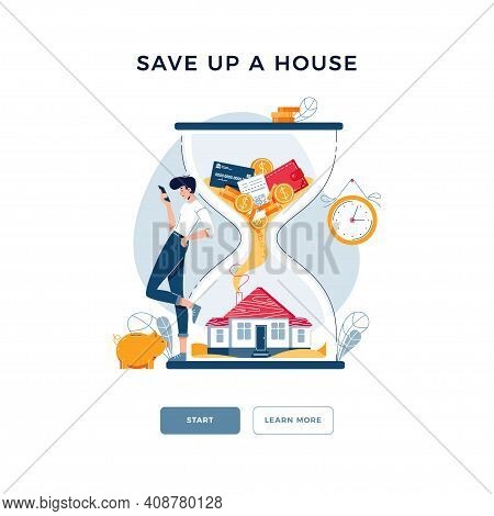 Save Up A House Concept. Man Purchased A Property And Awaits For Savings Growing. Make Money In Prop