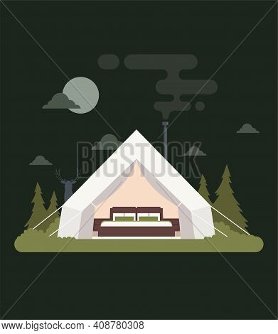 Vector Stock Glamping Concept Of Comfortable Outdoor Recreation.  Comfortable Camping With Camping,
