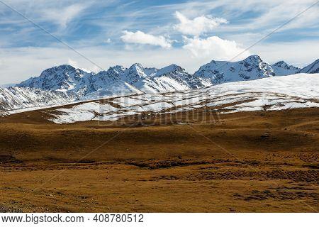 Snowy Mountain Peaks. Ala Bel Pass, Bishkek Osh Highway In Kyrgyzstan