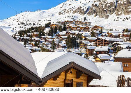 Bettmeralp, Switzerland - February 16.2019: Traditional Swiss Alps Chalet Village Bettmeralp In Cant