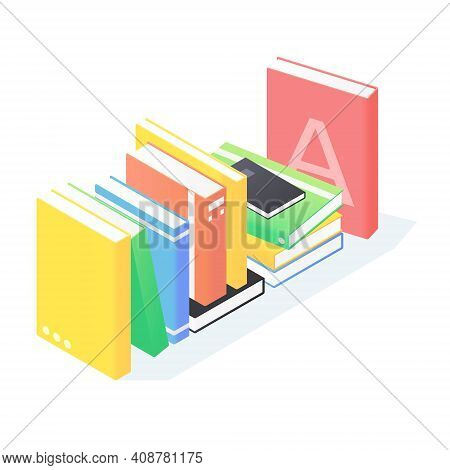 Books Stack Isometric. Pile Of Standing Paperback Literature With Hardcover Isolated On White Backgr
