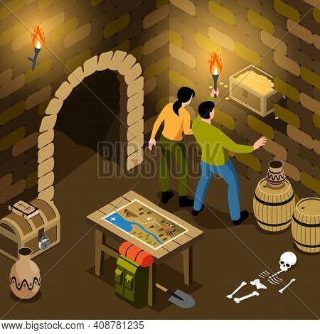 Isometric Treasure Hunt Composition With View Of Underground Tomb With Pair Of Hunters Holding Treas