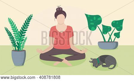 Woman Meditating At Home On The Floor With Plants And Sleeping Dog, Made In Vector Flat Cartoon Styl