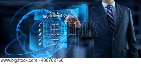 Digital Transformation Disruption Digitalization Innovation Technology Concept.