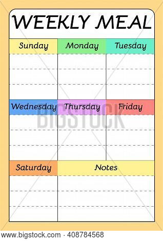 Weekly Menu A4 Printable Planner Template. Meal Schedule Empty Blank. Undated Weekly Vector Calendar