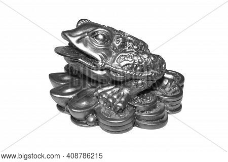 Money Toad By Feng Shui On A White Background.a Money Frog With A Coin In Its Mouth.the Statuette Is