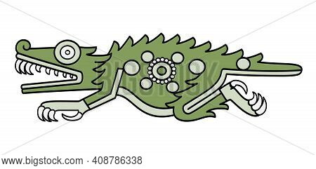 Aztec Crocodile Symbol, As Depicted In Codex Laud In 16th Century. Also Cipactli, The First Day Of A