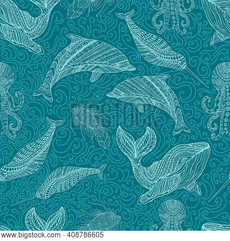 Whale Dolphin Octopus Narwhal And Fish Ornamental Colorful Waves Fantasy Sea Seamless Pattern, Cyan