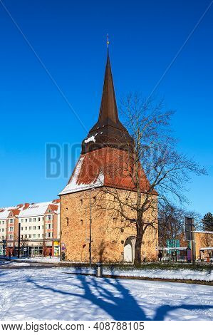 Historical Buildings In The City Rostock, Germany.