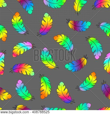 Multicolored Feathers On A Gray Background Seamless Pattern.vector Illustration