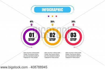 Infographic Circle Timeline 3 Points Banner Elements And Numbers. Business Concept Infographic Circl