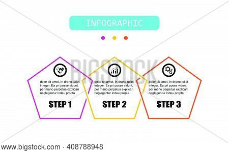 Pentagon Shape Timeline 3 Points Banner Elements And Numbers. Presentation Business Infographic Temp