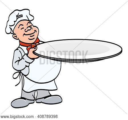 Cook With A Plate - Chef Holding A Big Empty Tray, Cartoon Color Vector Illustration