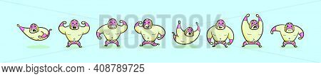 Set Of Mexican Wrestler Cartoon Icon Design Template With Various Models. Modern Vector Illustration