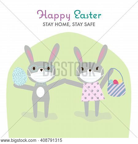 Funny Cartoon Grey Rabbits With Protective Medical Face Mask Holding Basket With Bright Eggs. Happy