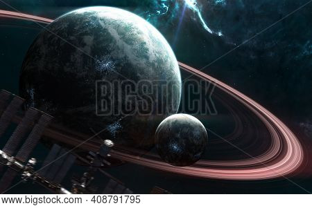 Planets In Deep Space. Beautiful Space Landscape. Space Station Blurred In Motion. Science Fiction.
