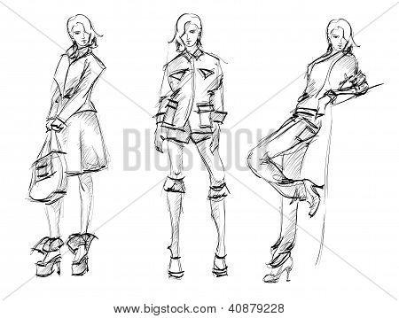 Illustration SKETCH. fashion girls on a white background poster