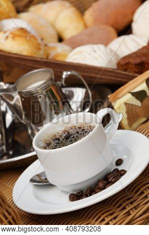 Coffee Cup. Coffee Cup On The Wooden Background, Hot And Fresh Morning Coffee. Coffee Beans Texture