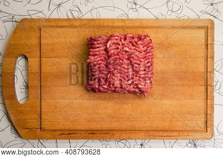 Minced Beef On A Chopping Board. Top View