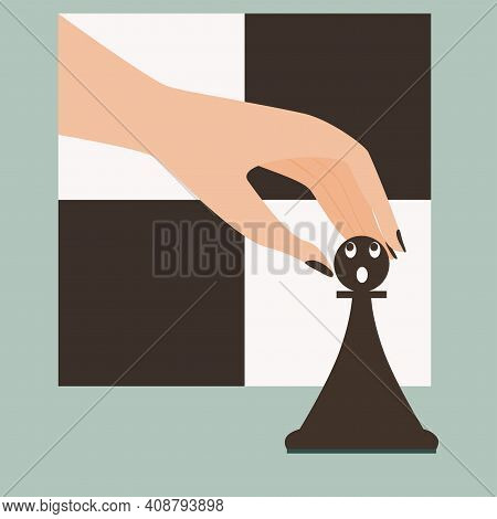 Human Hand Is Going To Take Chess Pawn. Pawn In Shock. Funny Vector Illustration. Cartoon Style