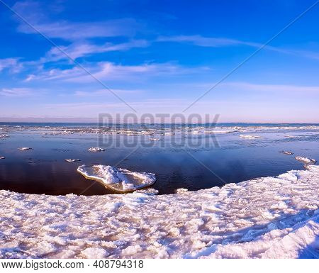Panorama Of Winter Baltic Sea With Snow And Ice On Sunset In Riga, Latvia. Baltics In Winter.